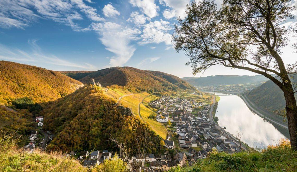 Aussicht auf das Moseltal und die Burg Thurant