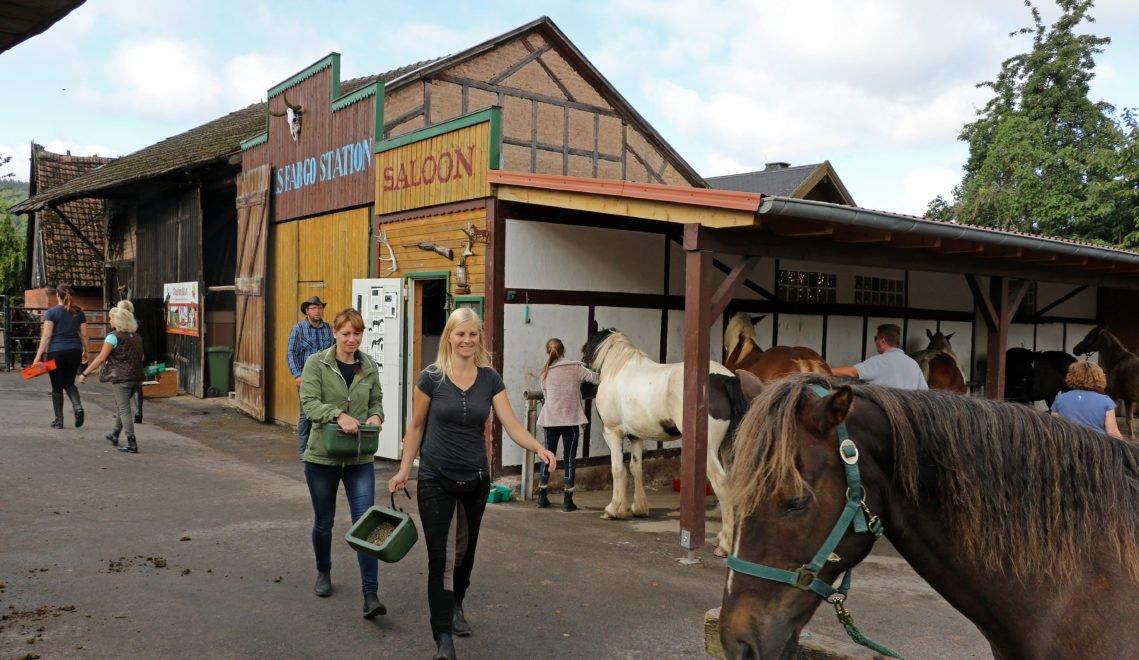 Auf der Stockborn Ranch, die zum Hotel Grüne Kutte gehört, kann man reiten lernen – Pferdepflege inklusive © Christiane Würtenberger / CMR