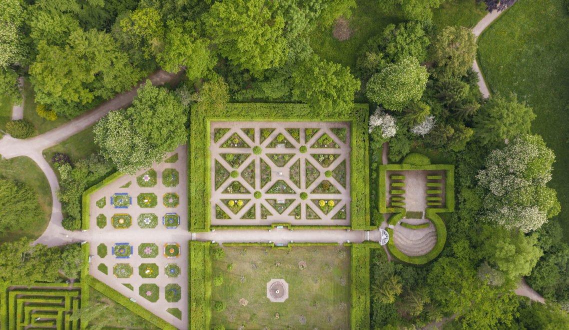 Der Schlosspark Belvedere von oben © Marcus Glahn / Stiftung Schloss Friedenstein Gotha