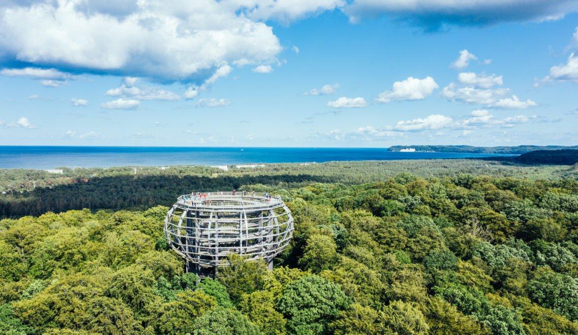Vom Aussichtsturm des Baumwipfelpfads kann man bis hinüber zu Ostsee schauen © TMV/Gänsicke