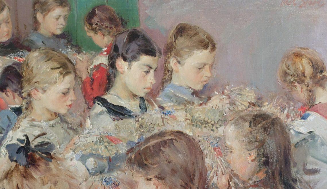 """Das 1916 entstandene Gemälde """"Klöppelschule in Jöhstadt"""" zählt zu den bedeutendsten Kinderbildern Robert Sterls © Wolfgang Gärtner"""