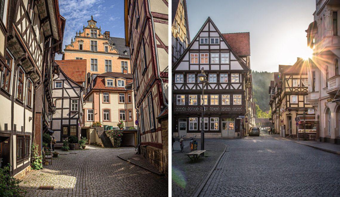 Malerische Fachwerkbauten so weit das Auge reicht findet ihr etwa in der Sydekumstraße © Hann. Münden Marketing GmbH, Foto: Max Wiesenbach