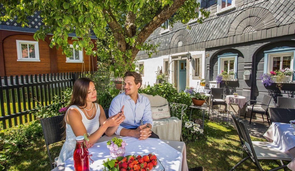 Die traditionellen Umgebindehäuser vereinen Blockbau-, Fachwerk- und Massivebauweise, hier in Obercunnersdorf © Katja Fouad Vollmer