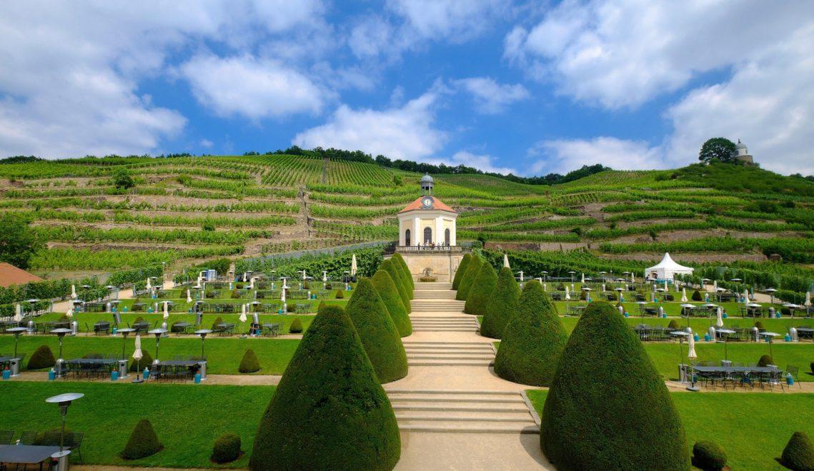 Barockes Lustwandeln, umgeben von Weinbergen, im Schloss Wackerbarth © Franco Cogoli