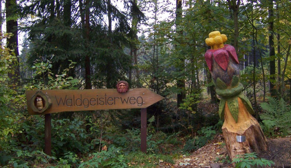Den Wegesrand des Waldgeisterwegs säumen putzige Holzfiguren © TMGS