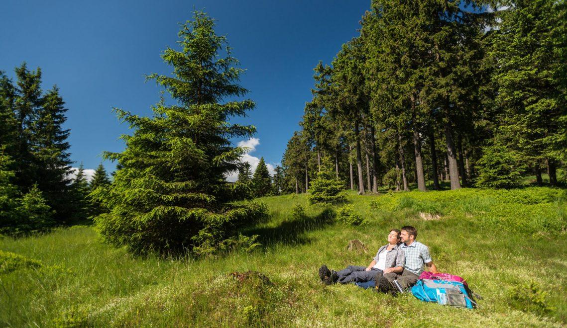 Verschnaufpause im Grünen bei einer Wanderung im Biosphärenreservat © Dominik Ketz