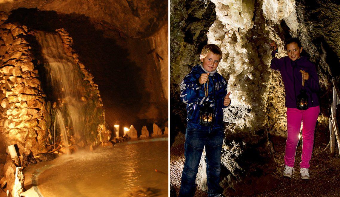Skurrile Felsskulpturen im Rücken, Laternen in der Hand: Auch für junge Besucher ist die Marienglashöhle ein Erlebnis © Thüringer Tourismus GmbH