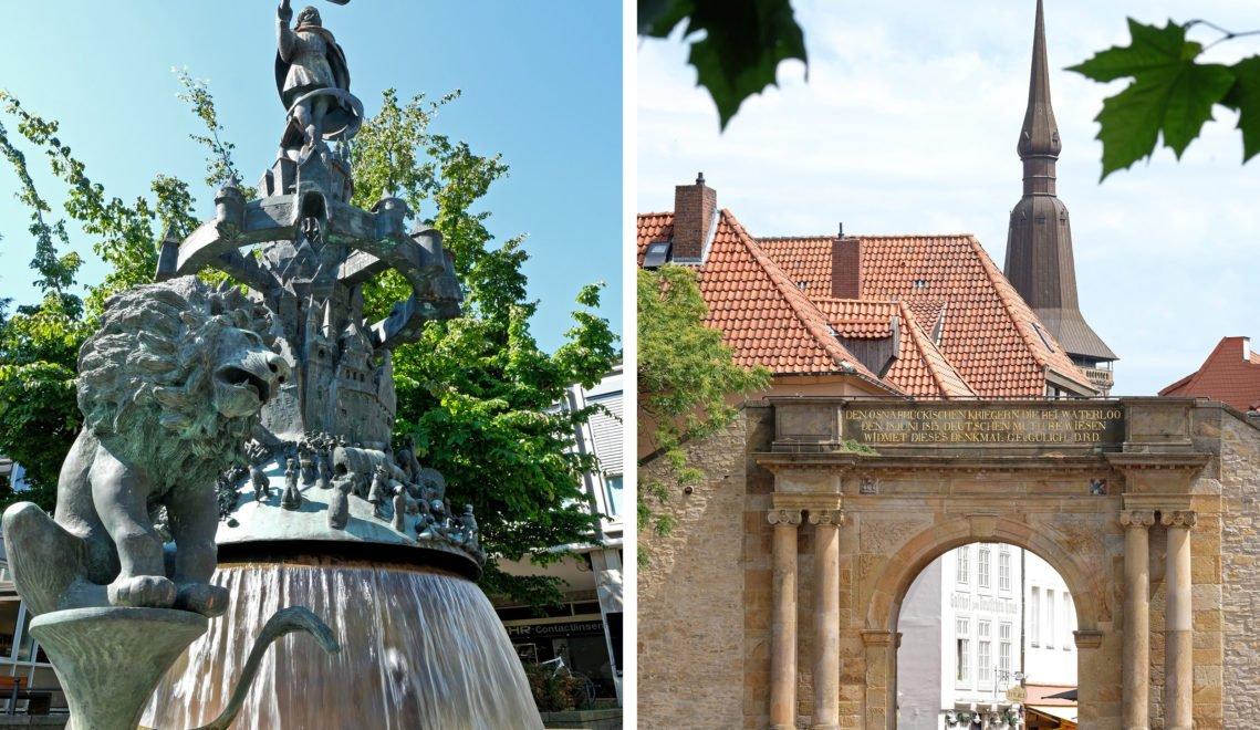 Noch heute erinnert der Bürgerbrunnen (links) an den Westfälischen Frieden, durch das Heger Tor (rechts) kommt ihr ins Museumsquartier © Christoph Mischke