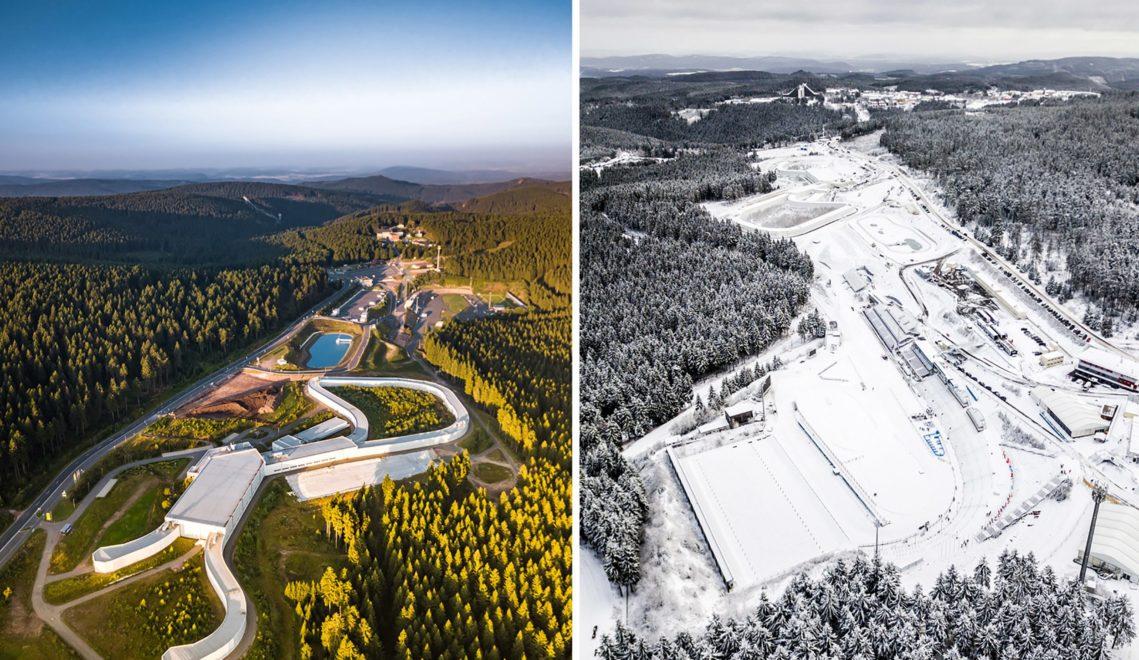 Die LOTTO Thüringen Skisport-HALLE Oberhof ist zu jeder Jahreszeit ein beliebtes Ausflugsziel von Langläufer*innen © Paul Hentschel Photography – www.paulhentschel.de