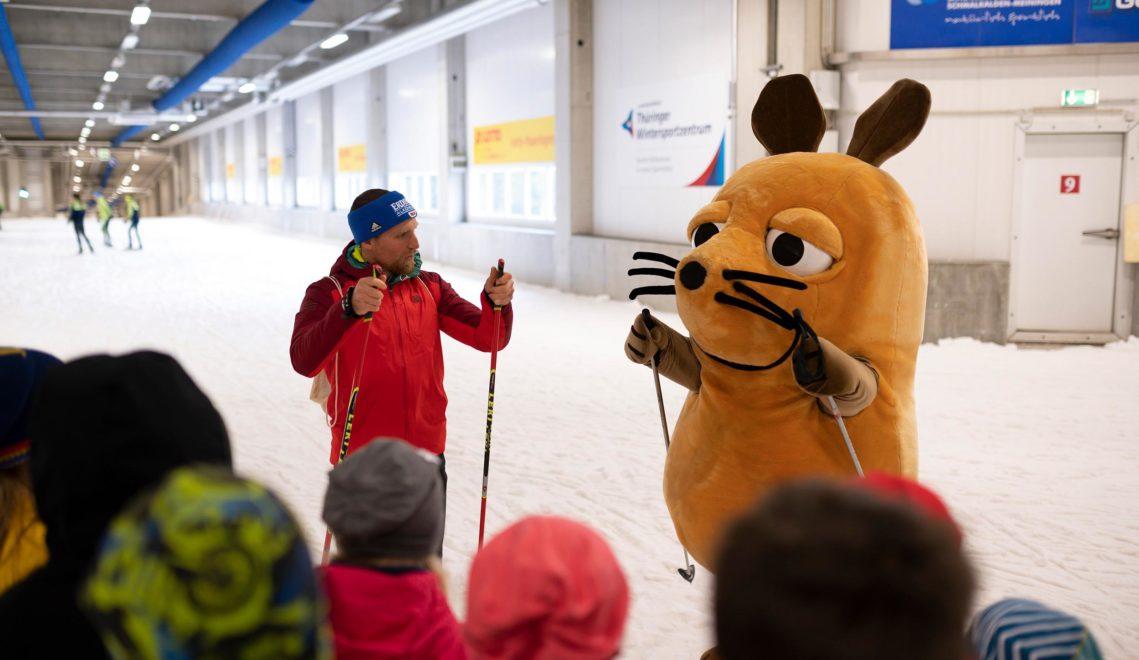 Auch die Maus war schon zu Besuch in der Skihalle Oberhof © Felix Abraham