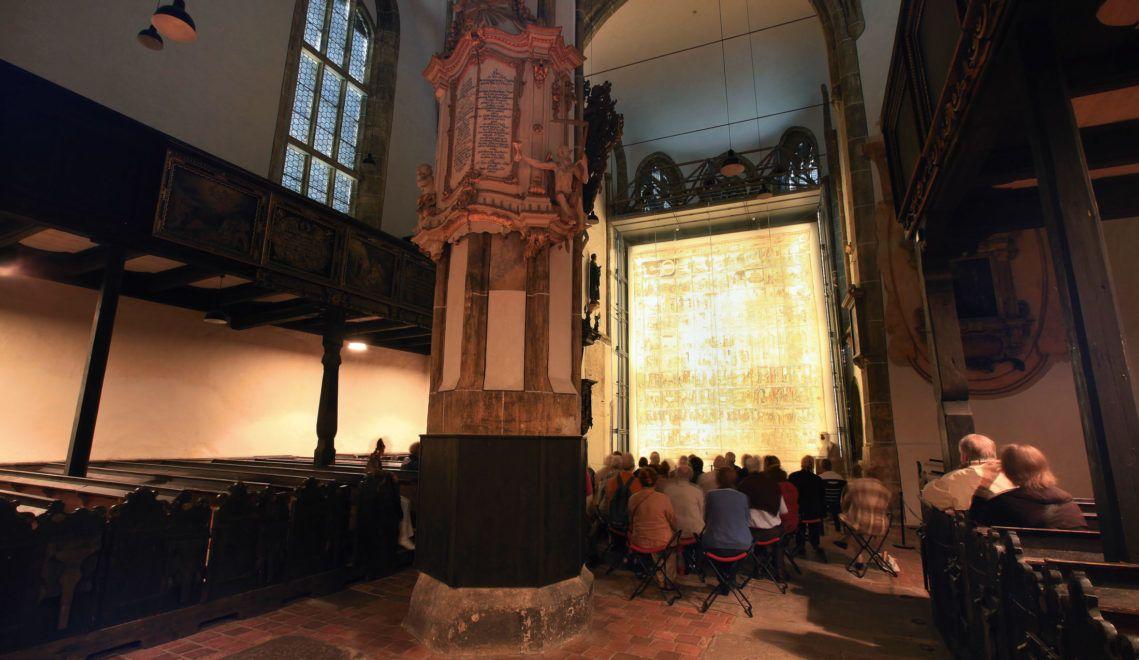 Eines der Highlights in Zittau – das Große Fastentuch in der Kirche zum Heiligen Kreuz © Archiv TMGS/René Pech