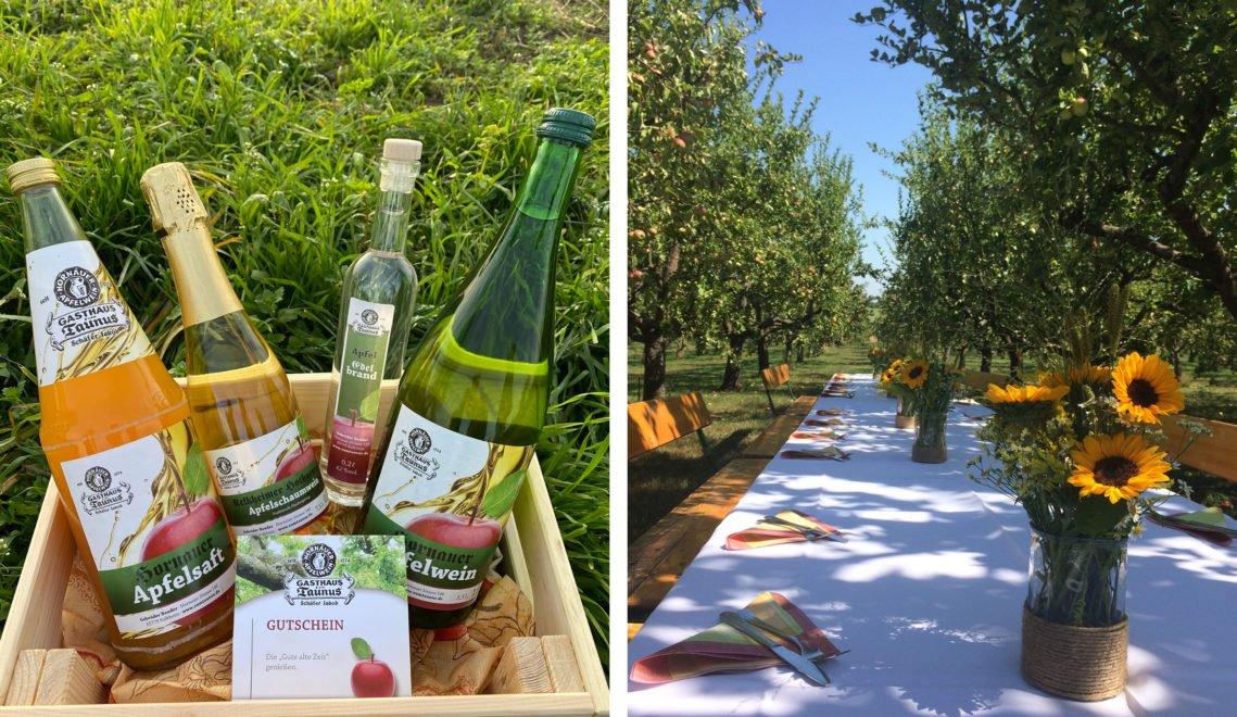 Bei schönem Wetter werden auch Tische zwischen den Apfelbäumen aufgestellt. Die leckeren Produkte aus der Kelterei gibt es auch zum Mitnehmen