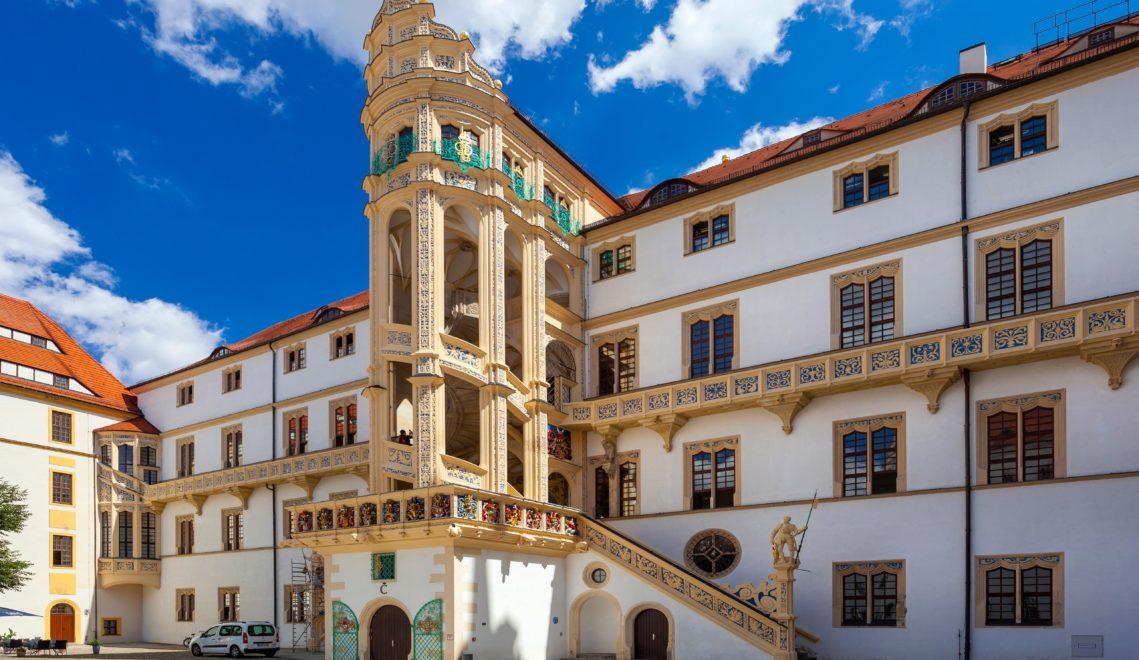 Ein wahres Meisterwerk – der Große Wendelstein, eine spiralförmigen Wendeltreppe auf Schloss Hartenfels